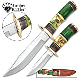 Timber Rattler Emerald Loch 2-Piece Fixed Blade Hunting Knife Set - 8'' Bushcraft, 12'' Bowie - 420 Stainless Steel - Green Carved Bone, Pakkawood - Nylon Sheath - Outdoors Survival Collecting Display