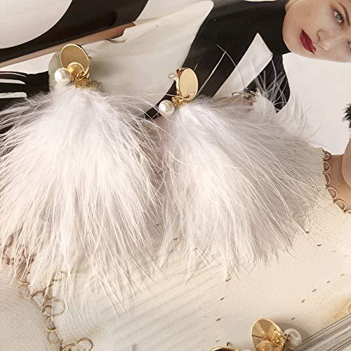 2018 Winter Mink Hair Feather Earrings Earring Ear Dangler Fashion Decoration Elegant Long Handmade (White Ostrich Feather