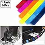HOKIPO Cable Wire Ties Curtain Marker Straps Belts Holders, 6 Piece Multicolor