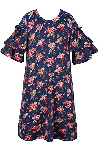 Truly Me A-line Smocked Double Ruffles Dress 7-16 (Navy/Red Floral - 16)