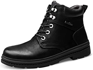 YAJIE-boots, Bottes de Travail pour Hommes, Mode Hiver décontracté Confortable avec Une Toison imperméable à l'intérieur d'une Botte Haute Chaude (Color : Noir, Taille : 46 EU)
