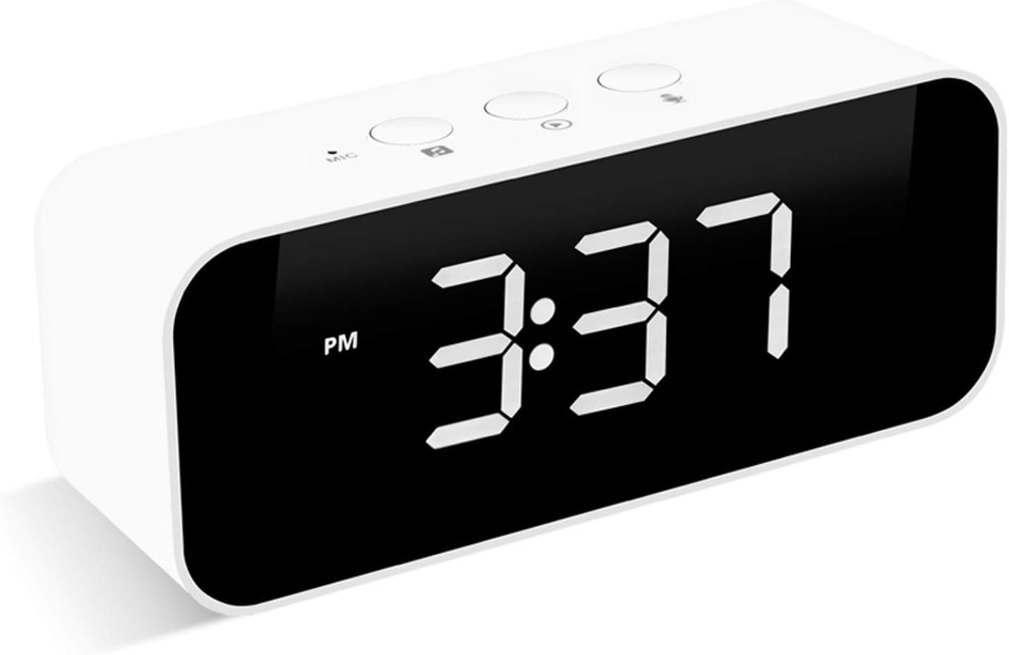 Muerkai Modern Digital Alarm Clock, with USB Port for Charging, Voice Recording, 3 Brightness, 8 Alarm Sounds & 3 Alarm Volume, Snooze Small Led Desk Clock for Kids, Bedroom, Home, Office (White)