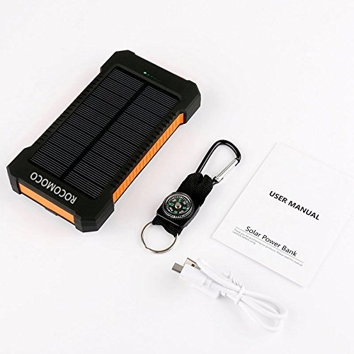 YOUNGFLY Dual 20000mAh Solar Charger Sunpower Panel Power Bank Waterproof, Dust-Proof and Shock-Resistant Led Light, with Compass + USB Cable + Hook (Orange)