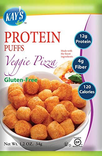 Kay's Naturals Protein Puffs, Veggie Pizza, Gluten-Free, Low Carbs, Low Fat, All Natural Flavorings, 1.2 Ounce (Pack of 6)