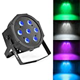 MFL. 7X10W Led Par Light Quad RGBW DMX512 Up 4-in-1 Par Can Stage Lighting Sound Activated Modes for Live Party DJ Wedding Church