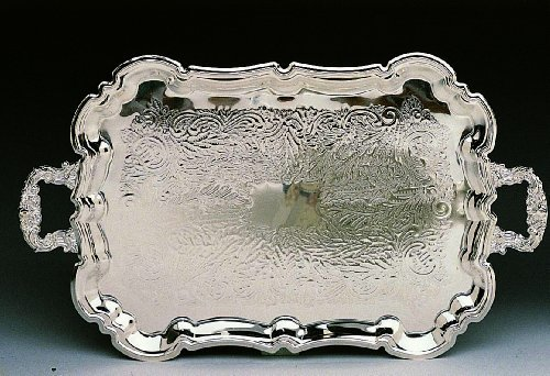 "Elegance Silver 84421 Silver Plated Footed Princess Tray with Handles, 23"" x 14"""
