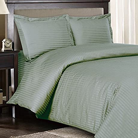 Ultra Soft Exquisitely Smooth Genuine 100 Plush Cotton 1200 Thread Count Bed In A Bag Lavish Sateen Stripe Bed Ensemble 8 Piece King Size Bed In A Bag Stripe Sage