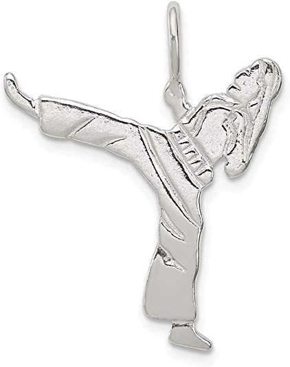 Sterling Silver 15x16mm says Martial Arts with Belt Around Charm