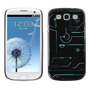 TECHCASE**Cubierta de la caja de protección la piel dura para el ** Samsung Galaxy S3 I9300 ** Technical Blue Black Futuristic Schematics