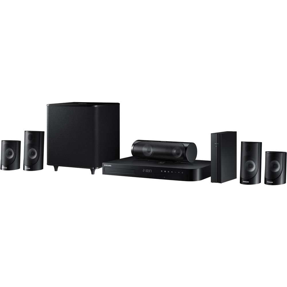 SAMSUNG Region Free HT-J5500 5.1-Channel Smart Blu-ray Home Theater System - 3D - WI-FI - Multi Zone All Region Blu Ray Disc DVD Player - PAL/NTSC - USB & 6 Feet Multi System HDMI Cable HTC