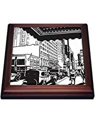 """3dRose Vintage Old City Black and White Trivet with Ceramic Tile, 8 by 8"""", Brown"""