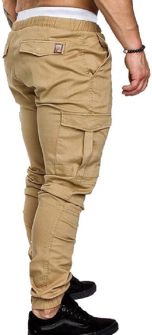 UUYUK Men Multi Pockets Athletic Elastic Waist Fashion Jogger Long Pants