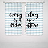 Marble Bedroom Curtains Adventure Every Day is a New Adventure Quote Inspirational Things About Life Artwork High-Precision Blackout CurtainBaby Blue Black