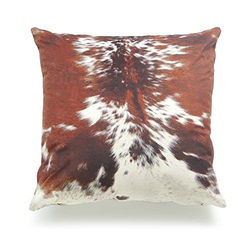 Hofdeco Decorative Throw Pillow Cover Premium Short Plush Fall Decor Tri Color Brown Southwestern Cowhide Print 18x18 45cm x 45cm