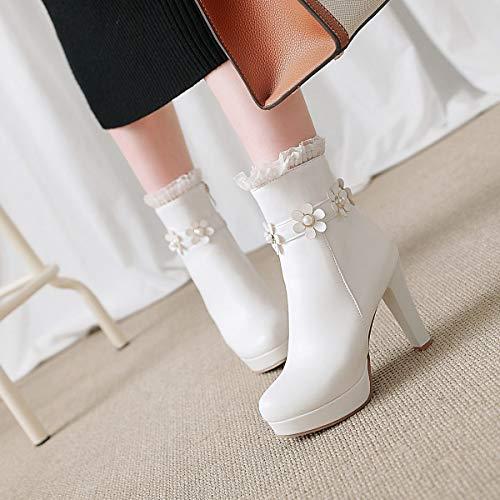 Stivali Moda Donna Fiore Da White Tacco Impermeabile Piattaforma Spessore Ultra Alta Perla Basso zz6qw1Up