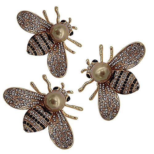 Bee Accessory - ZUOZUOYA Lovely Honey Bee Brooches - 3 Pcs Gold Tone Insect Themes - Fashion Mother of Pearl Brooch Pins - Great for Wife,Sisters and Friends