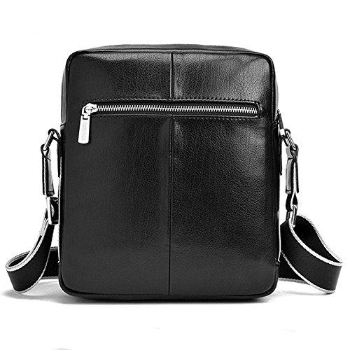 caballeros de casual de para cuero bolso hombre piel Negro mensajero messenger bag bandolera hombro hombre AIAIMEI de bolso hombre tipo bandolera de pequeña bolso bolso qZP04O7