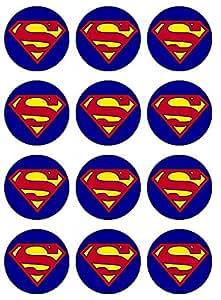 Amazoncom 12 EDIBLE Superman Cupcake Toppers superman