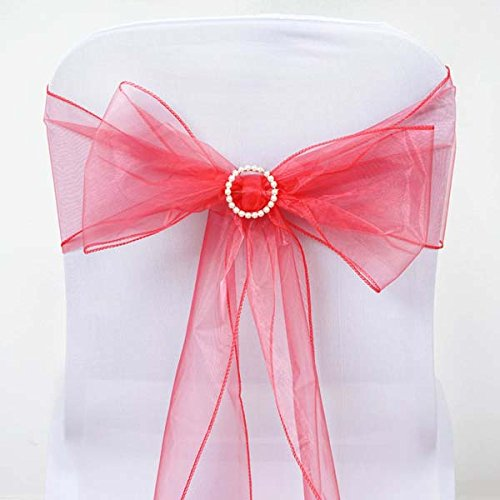 Efavormart 5pc x Wholesale Sheer Organza Chair Sashes Tie Bows for Wedding Events Decor Chair Bow Sash Party Decor - Coral