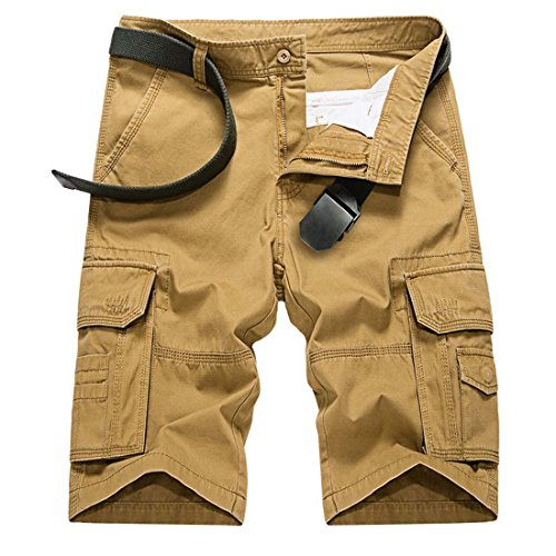 CRYSULLY Men's Summer Casual Cotton Relaxed Fit Multi Pocket Cargo Shorts(No Belt)