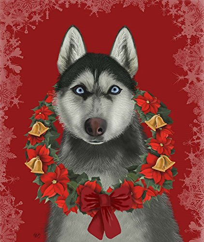 Husky and Poinsettia Wreath by Fab Funky Art Print