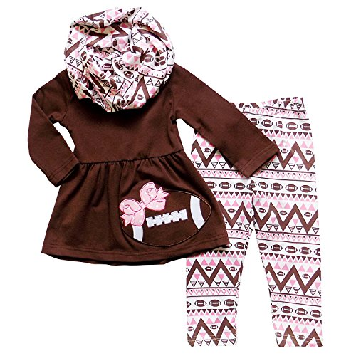 Football Dress - So Sydney Girls Pink & Brown Friday Night Football, 3 Pc Outfit w Infinity Scarf (XXXL (8), Brown)