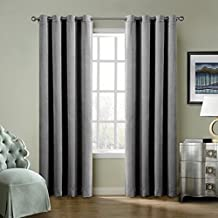 FirstHomer HOME Solid Matt Heavy Velvet Curtain Drape Panel Blackout Super Soft Nickle Grommet Top Grey 50Wx72L Inch (one Panels)Collection Theater| Bedroom| Living Room