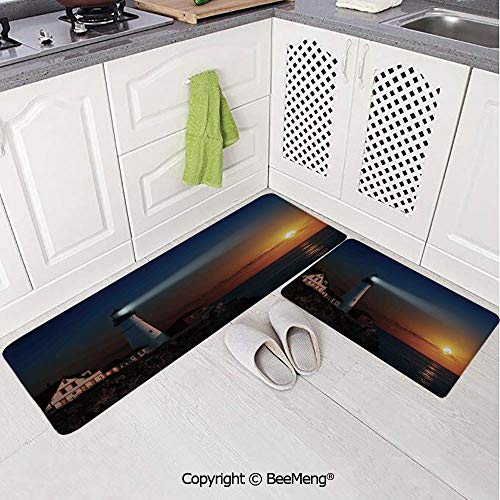 2 Piece Indoor Modern Anti-Skid Carpet Printed Block Bathroom Carpet,Lighthouse Decor,Portland House at Dawn Rocks Houses Fences Lamp Image Navigation,20x31in,20x59in