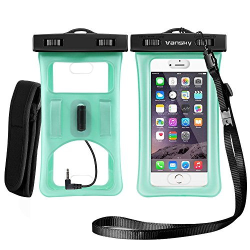 Price comparison product image Floatable Waterproof Case, Vansky Waterproof Phone Case Dry Bag With Armband and Audio Jack for iPhone 8/8Plus, 7/7 Plus, Galaxy /Google Pixel/LG/HTC, Eco-Friendly TPU Construction IPX8 Certified