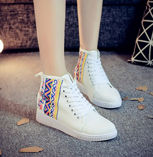 Embroidery Walking top Flats High Womens White up AvaCostume Shoes Lace Casual wxt8qa55B
