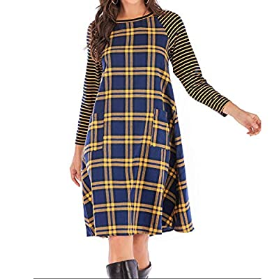 Yahong Women Plaid Dress Casual Striped Long Sleeve Loose Fit Checkered Tunic Dresses Pockets