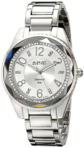 August Steiner Women's AS8122SS Diamond and Crystal-Accented Watch