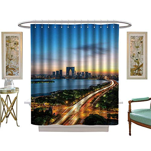 luvoluxhome Shower Curtains Fabric Extra Long City Scenery and Traffic Flow in suzhou Park at Night Satin Fabric Bathroom Washable W69 x -