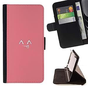 - Queen Pattern FOR Samsung Galaxy S6 EDGE /La identificaci????n del cr????dito ranuras para tarjetas tir????n de la caja Cartera de cuero cubie - tongue smiley Japanese cute emot