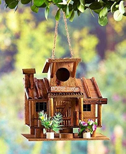 Hot Sale! Rustic No Bears Allowed Wooden Log Cabin Style Birdhouse Bird House (Bird Guardian Birdhouse)