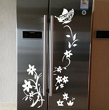 iTemer 1 Pieza Creativo Hermoso refrigerador Armario Muebles Pegatinas Decorativas PVC extraíble Flor Vid Pegatinas Blanco: Amazon.es: Jardín