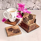 Wooden Drink Coasters Set of 6 With Holder For Drinks Beverages Glasses Tea Cup Coffee Mug Natural Handcrafted Tabletop Protection From Spills & Marks Rustic Style Large Square Non Slip 4 Inches