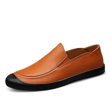 Zapatos Oxford de negocios informales para hombres Zapatillas de cuero genuino Evitación de colisión plana con suela suave Zapatos de conducción clásicos ...