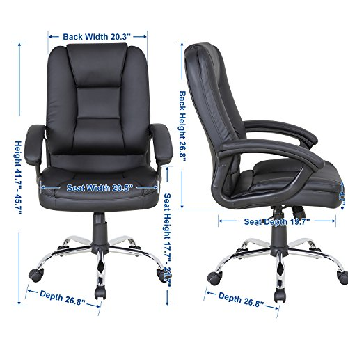 LCH PU Leather Office Chair Swivel Executive Chair with Tilt Function and Thick Seat, Ergonomic Computer Chair Headrest and Lumbar Support (Black) by LCH (Image #5)