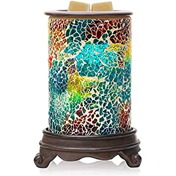 Bobolyn Mosaic Electric Wax Melt Warmer Candle Waxing Warmer Burner Melt Wax Cube Melter Fragrance Warmer- Ideal Gift for Wedding, Spa and Aromatherapy. (Polychromatic(Blue))