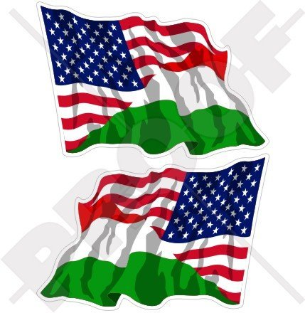 """Price comparison product image USA United States of America & HUNGARY Waving Flag, American & Hungarian, MAGYAR 4,7"""" (120mm) Vinyl Bumper Stickers, Decals x2"""