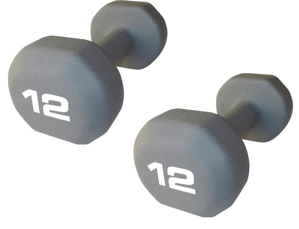 "Set of 2 - Fitness Gear 12 lb Neoprene Dumbbell (Dimensions: 9"" L x 4.3"" W x 3.8"" H) by Fitness Gear"