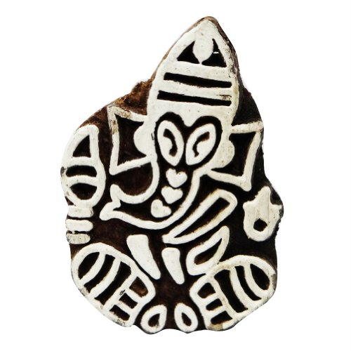 Lord Ganesha Design Fabric Stamp Traditional Fabric Wooden Printing Block India