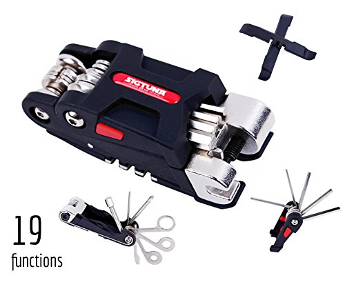 SIGTUNA Bike Tool Kit - 19-function Bike Multi Tool for Mountain Biking and Cycle Repair with Spoke Wrenches, Screwdrivers, Tire levers and Chain Tool Bmx Bike Tool