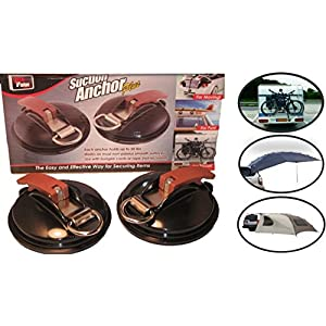 Suction Mount - Suction Cup Anchor - Easy Effective Way To Tie-Down And Secure STUFF Like Bikes Boats Luggage Tarps Tents and Awnings - Car Mount Suction Cup - Securing Hook