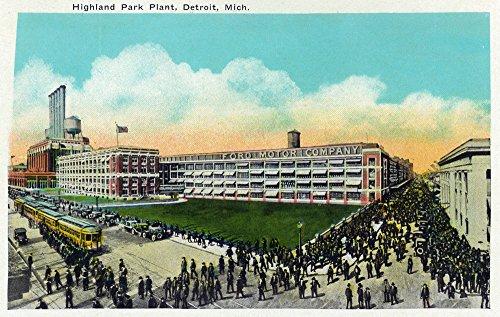 Detroit, Michigan - Highland Park Plant Exterior (12x18 Fine Art Print, Home Wall Decor Artwork Poster)