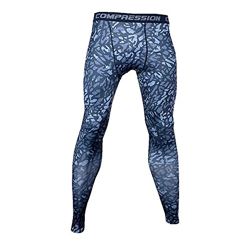 Bifrost Mens Camouflage Sports Running Basketball Compression Tight Leggings Pants(Style:Black Rock Size:S)