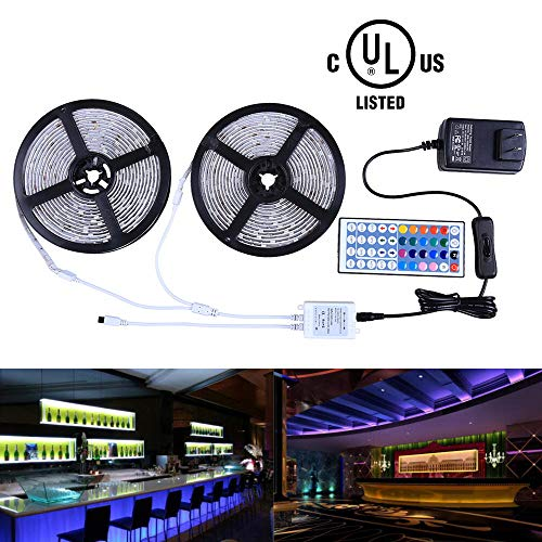 Room Controller - Miheal Led Strip Lights Kit 32.8 Ft (10m) 300leds Waterproof 5050 SMD RGB LED Flexible Lights with 44key ir Controller and Power Supply for Home,Kitchen,Trucks,Sitting Room and Bedroom Decoration.