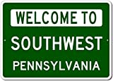 The Lizton Sign Shop Welcome To Southwest, Pennsylvania - Aluminum U.S. City State Novelty Sign - Green - 12''x18''