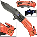 LED Flashlight Tactical Rescue Pocket Knife Firefighter